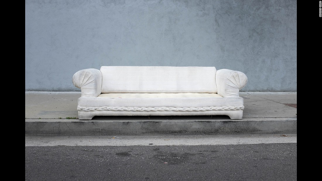 A sofa on Saticoy Street in North Hollywood.