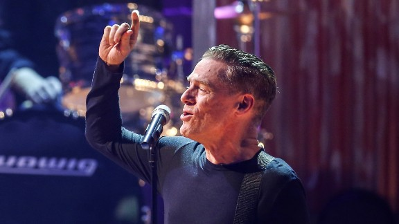 """During Live Aid, Bryan Adams' music was in heavy rotation on U.S. radio stations following release of his 1984 hit album, """"Reckless."""" He played some of those songs at Live Aid, and a few years later went on to win a Grammy and an MTV Video Music Award. Adams toured to celebrate """"Reckless'"""" 30th anniversary. Here he performs in Germany in 2014."""
