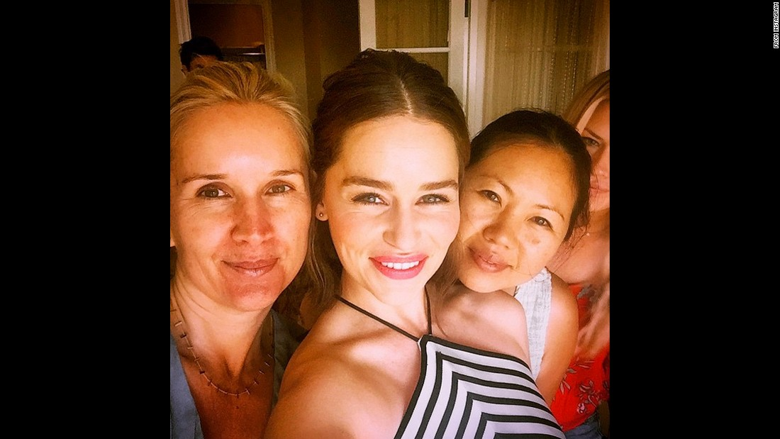 "Another ""Game of Thrones"" star, Emilia Clarke, <a href=""https://instagram.com/p/4fm9iUo1FL/"" target=""_blank"">takes a selfie with her hair and makeup team</a> on Sunday, June 28. Clarke, second from left, said she was ""getting good and glammed"" for the premiere of her new movie, ""Terminator Genisys."""