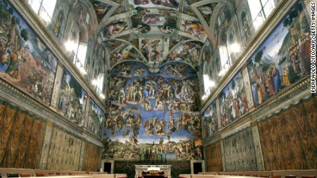 Picture shows the Sistine Chapel with Michelangelo's fresco ' The Last Judgment ' at the Vatican, 16 April 2005. Cardinals start their conclave in the frescoed Sistine Chapel on April 18 and will vote twice a day thereafter until one candidate has reached a majority of two thirds plus one. (Photo credit should read PIERPAOLO CITO/AFP/Getty Images)