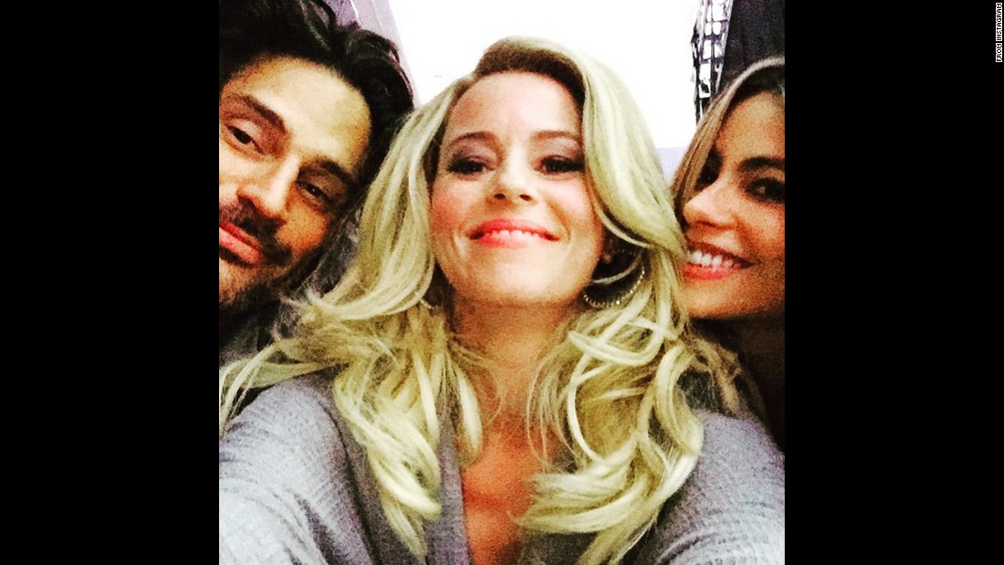 "Elizabeth Banks posted this selfie Thursday, June 25, with one of her ""Magic Mike XXL"" co-stars, Joe Manganiello, and his fiancee, actress Sofia Vergara. ""Happy couple making me smile,"" <a href=""https://instagram.com/p/4XZ-r7JXQF/"" target=""_blank"">Banks said on Instagram.</a> ""What you can't see: we are laying on the floor watching Twitch dance a little."" Twitch is the nickname of dancer Stephen Boss, who's also in the movie."