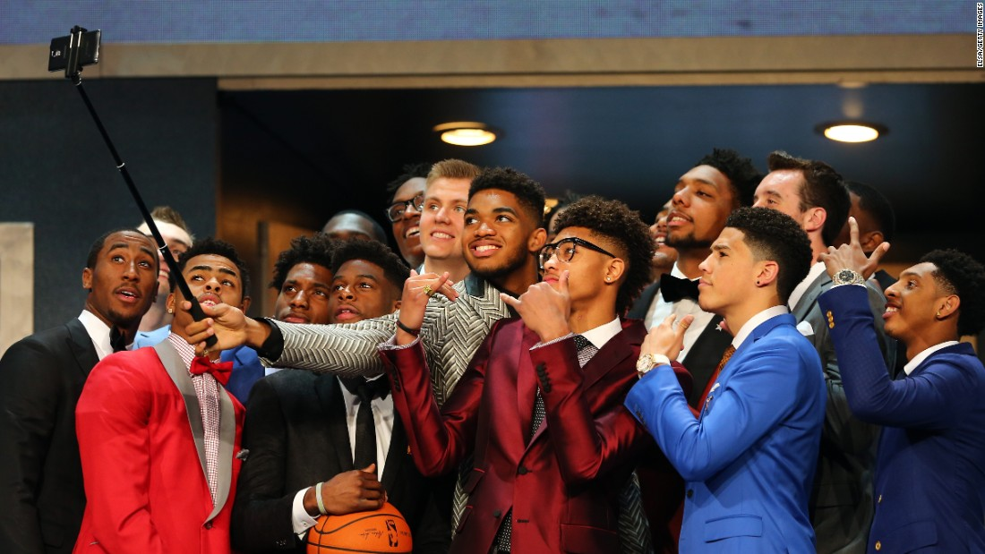 Karl-Anthony Towns, the first overall pick in the NBA Draft, takes a selfie with other prospects before the start of the draft Thursday, June 25, in New York. Towns, who attended the University of Kentucky, was taken No. 1 by the Minnesota Timberwolves.
