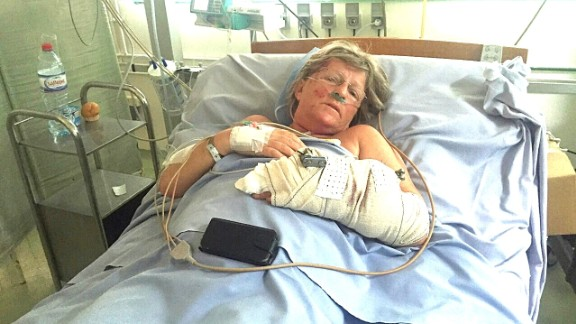 """30 British tourists were killed in a terror attack on a beach resort in Tunisia. Cheryl Mellor (pictured) and her husband Stephen sheltered together and told each other """"I love you"""" before the gunman turned on them. Cheryl survived with gunshots to her arm and leg. Stephen, who tried to block the bullets, did not."""