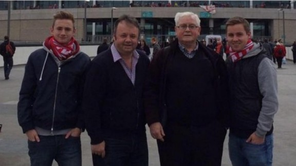 The attack also killed three generations of one family -- Adrian Evans (second from left), 44, his father Patrick (second from right), 78, and his nephew Joel Richards (right), 19. All three were fans of the Walsall Football Club, and fellow fans laid their scarves down outside the stadium in mourning. Joel
