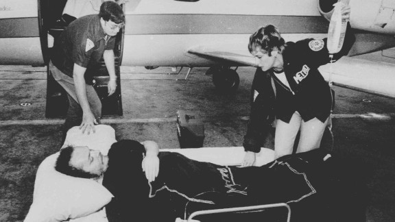 Larry Flynt, owner of Hustler magazine, lies on a stretcher in Atlanta, April 14, 1978, as attendants prepare to load him on board a hospital plane. Flynt was shot by serial killer and white supremacist Joseph Paul Franklin for publishing pornographic photos of a black man with a white woman. The injury left Flynt permanently paralyzed from the waist down. Franklin was convicted of six murders and claimed responsibility for as many as 22. He was executed in November 2013.