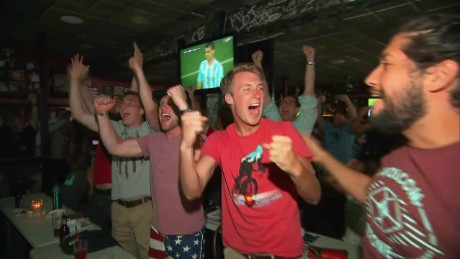 Fans celebrate USA's World Cup victory over Germany