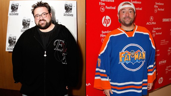 "Filmmaker Kevin Smith in 2008, left, and in 2015. The director of ""Clerks"" and other movies tweeted in June 2015 that he lost 85 pounds. His secret? Walking 5 miles daily and giving up sugary drinks. In August 2018 he shared on social media that a plant based diet helped him shed 51 more pounds after he suffered a heart attack earlier in the year."
