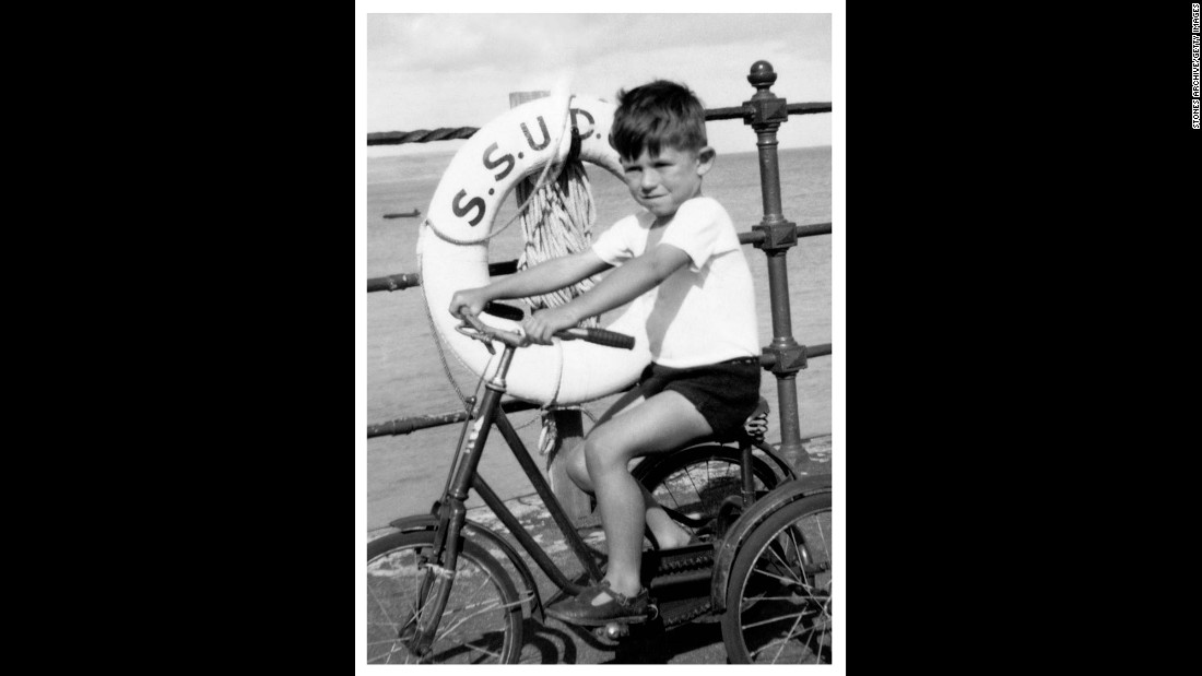 Keith Richards, 4, rides a bike on a family holiday at Southend-on-Sea, England, in 1947. The guitarist met Jagger while the two were in primary school, a friendship that budded into the world-renowned rock band.