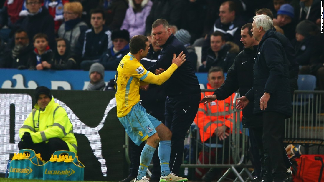 Pearson was in the headlines for the wrong reasons on several occasions last season -- including this bust-up with James McArthur of Crystal Palace.