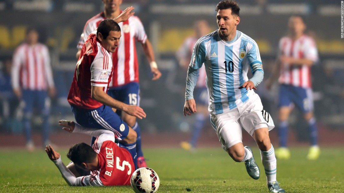 Messi, considered by many the best soccer player in the world, playing for Argentina in a recent game against Paraguay.
