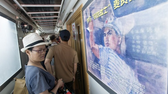 The inside of China's military vessels are lined with patriotic images and slogans.