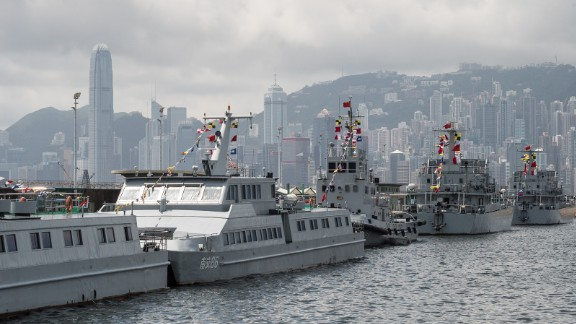 China's warships occasionally make appearances in Hong Kong's Victoria Harbor.