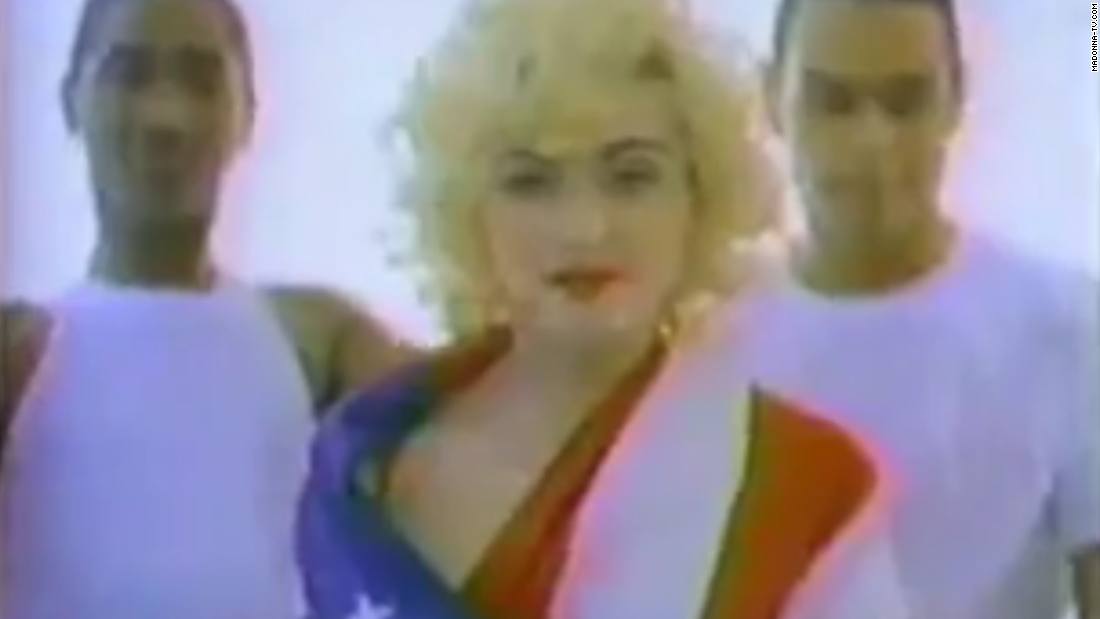 "Madonna raises the bar for flag apparel in a 1990 ""Rock the Vote"" ad."