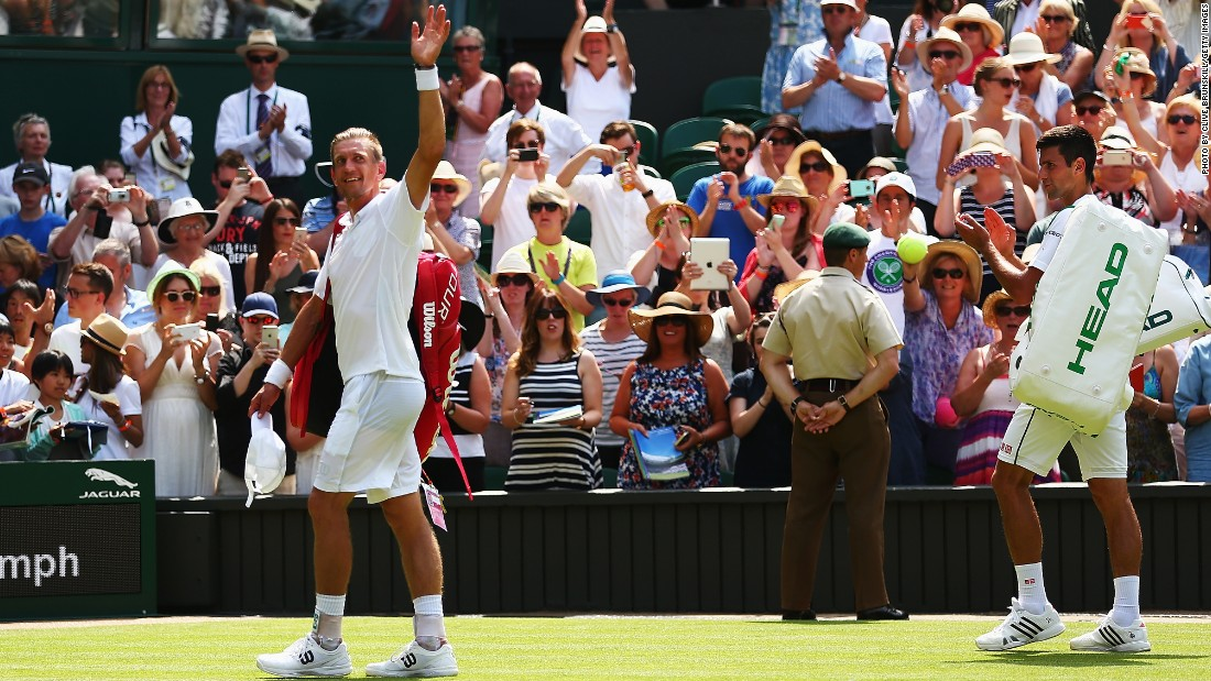 It was Nieminen's final Wimbledon and the ever gracious Djokovic applauded him off tennis' most famous court.