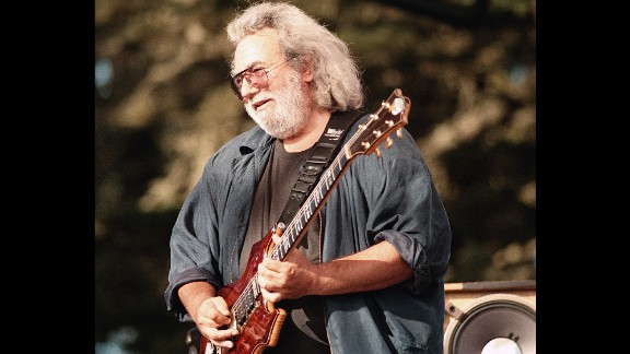 Garcia plays at a memorial for promoter Bill Graham in San Francisco in 1991. The guitarist died of a heart attack in 1995. He was 53.