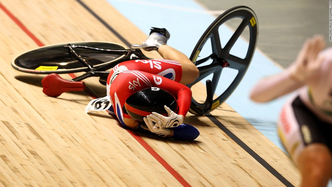 Falls and crashes are rare in track cycling but they always look painful! Here, Pendleton takes protective action at the 2012 World Championships in Melbourne, Australia. The rough and tumble of the track should prepare her well for any problems she encounters on horseback.