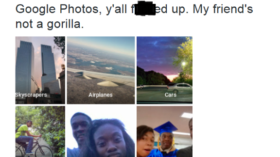 Computer programmer Jacky Alcine was shocked to see that the Google Photos app put a racially insensitive tag on a photo of him and a friend.