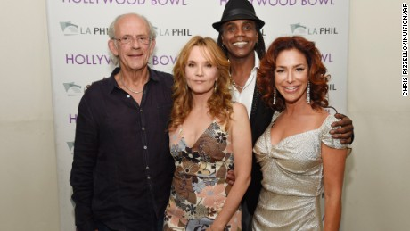 "Christopher Lloyd, Lea Thompson, Donald Fullilove and Claudia Wells at the ""Back to the Future"" event."