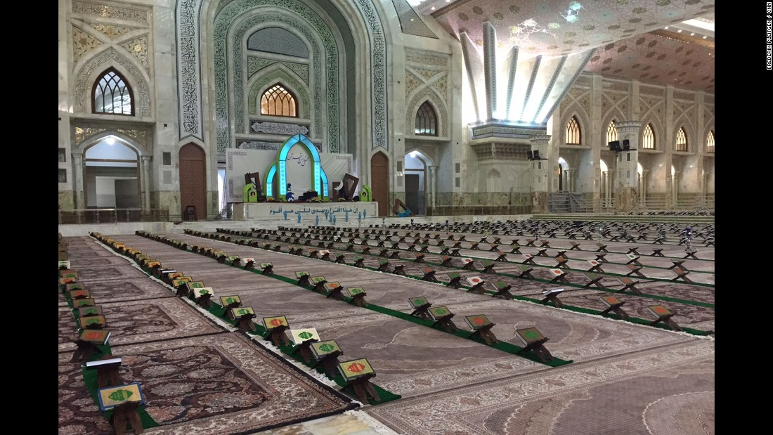 There's space for hundreds of worshippers inside the shrine to Khomeini, with copies of the Quran laid out for each of them.