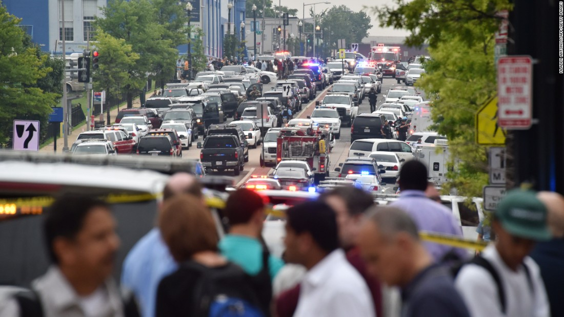 "Police and emergency crews arrive at the scene on July 2. In September 2013, <a href=""http://www.cnn.com/2013/09/16/us/dc-navy-yard-gunshots/index.html"">12 people were killed</a> and eight others injured when a gunman went on a rampage in Building 197 at the complex. The gunman, Aaron Alexis, a military contractor from Texas, also died during a gunfight with authorities."