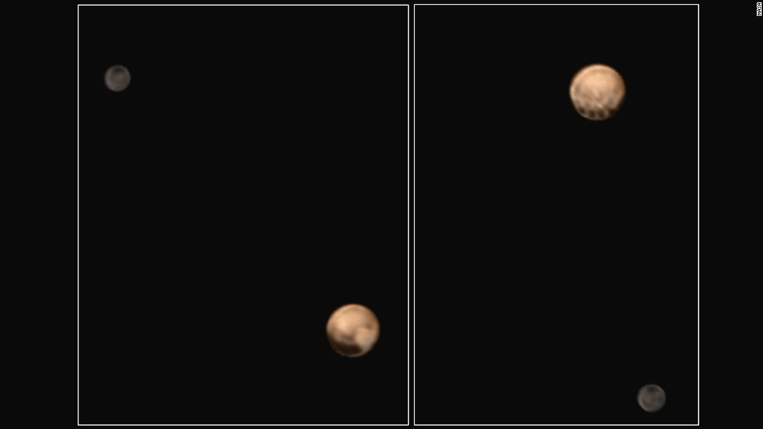 Pluto is shown here along with Charon in images taken on June 25 and 27. The image on the right shows a series of evenly spaced dark spots near Pluto's equator. Scientists hope to solve the puzzle as New Horizons gets closer to Pluto.