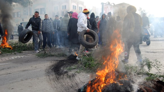 Kasserine was known for its central role in the 2011 Tunisian revolution. Here, residents burn tires during a 2013 protest calling for compensation after the overthrow dictator Zine el Abidine Ben Ali.