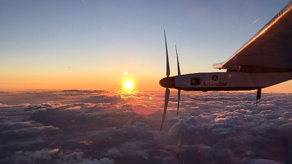 Solar Impulse is seen at sunrise on Monday, June 29, shortly after taking off from the international airport in Nagoya, Japan. The aircraft's Japan-to-Hawaii trip was the most ambitious leg of its quest to circumnavigate the globe powered only by the sun.