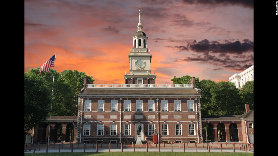 "The Declaration of Independence and the U.S. Constitution were both debated and adopted in Philadelphia's Independence Hall. Nearby is the cracked Liberty Bell, which reads ""Proclaim liberty throughout all the land onto all the inhabitant thereof."" The bell and its inscription were later used as a rallying cry for the abolitionist and women's suffrage movements."