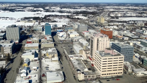 An aerial view of Yellowknife, Northwest Territories -- home to slightly fewer people than attended the U.S. vs. Colombia game in Edmonton.