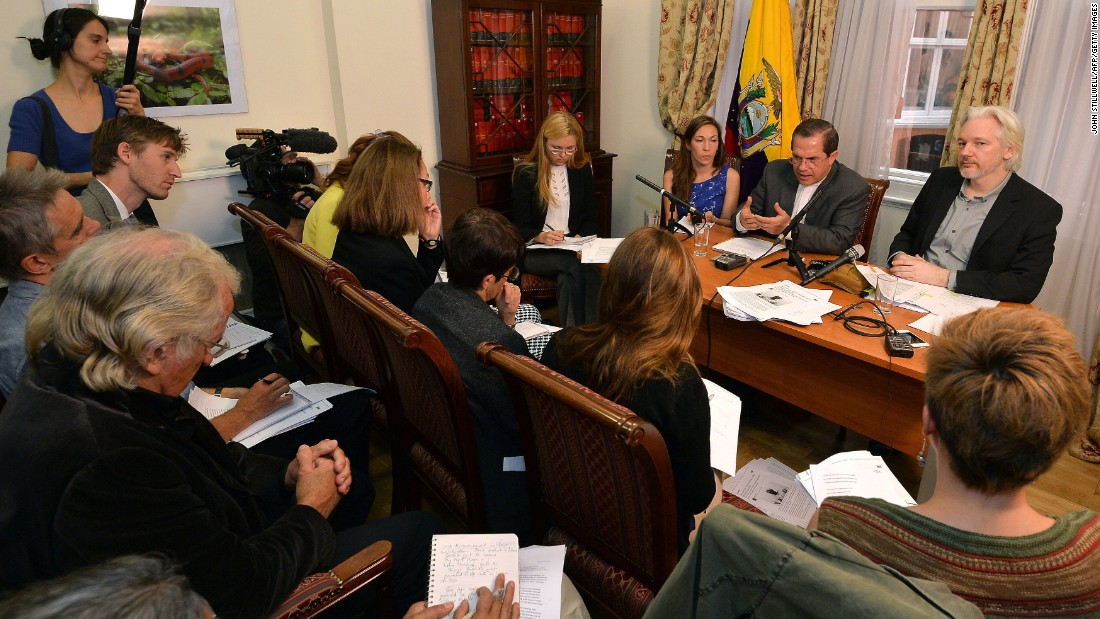 Assange attends a news conference inside the Ecuadorian Embassy in London in August.