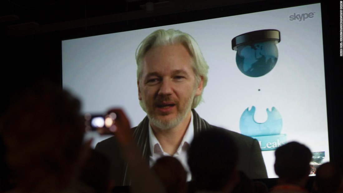Assange speaks during a panel discussion at the South By Southwest Festival in Austin, Texas, in March 2014.
