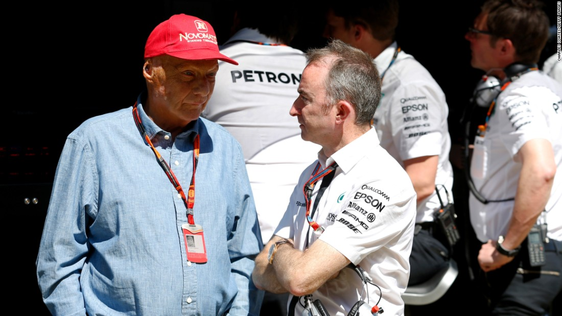 "Former world champion Niki Lauda (left) is Mercedes' non executive chairman. Speaking to German newspaper Bild in June, Lauda wants drivers to be given greater challenges when racing. ""One cannot turn back time, but the driver must again have the clutch in hand, rather than just pressing a button,"" said Lauda. ""The highest limit and the risk factor have been lost."""