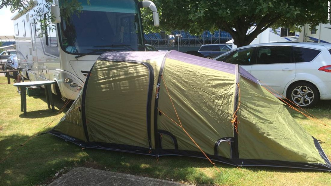 "There are ex-team bosses too. This tent belongs to former Jordan team principal Eddie Jordan. ""It all started because the traffic to Silverstone was horrific and to avoid all that it became fashionable to stay in tents,"" Jordan told CNN."