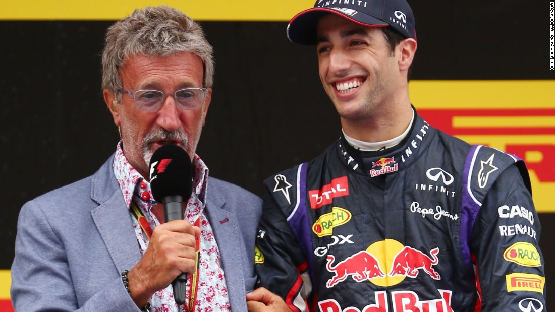 """Tents became caravans and caravans became motor homes and this little area is for the drivers,"" continued Jordan, seen here pictured with Red Bull driver Daniel Ricciardo. ""A lot of the drivers are staying here. It just takes the stress out of it altogether."""