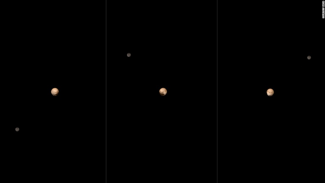 New Horizons took six black-and-white photos of Pluto and Charon between June 23 and 29. The images were combined with color data from another instrument on the space probe to create the images above. The spacecraft was 15 million miles away when it started the sequence and 11 million miles when the last photo was taken.