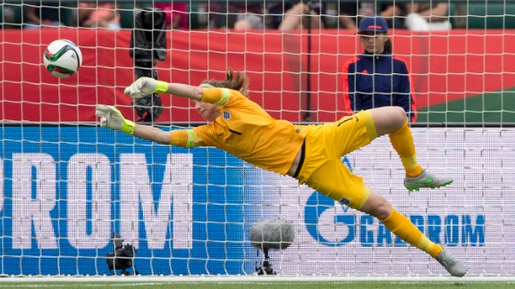 England goalkeeper Karen Bardsley makes a save against Germany during second-half action on Saturday, July 4.