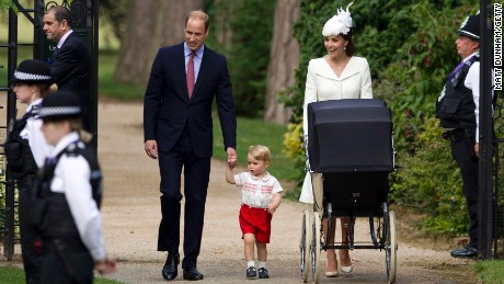 Catherine, Duchess of Cambridge, Prince William, Duke of Cambridge, Princess Charlotte of Cambridge and Prince George of Cambridge arrive at the Church of St Mary Magdalene on the Sandringham Estate for the Christening of Princess Charlotte of Cambridge in King's Lynn, England, on Sunday.