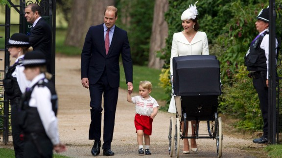 Catherine, Duchess of Cambridge, Prince William, Duke of Cambridge, Princess Charlotte of Cambridge and Prince George of Cambridge arrive at the Church of St Mary Magdalene on the Sandringham Estate for the Christening of Princess Charlotte of Cambridge in King's Lynn, England, on July 4.