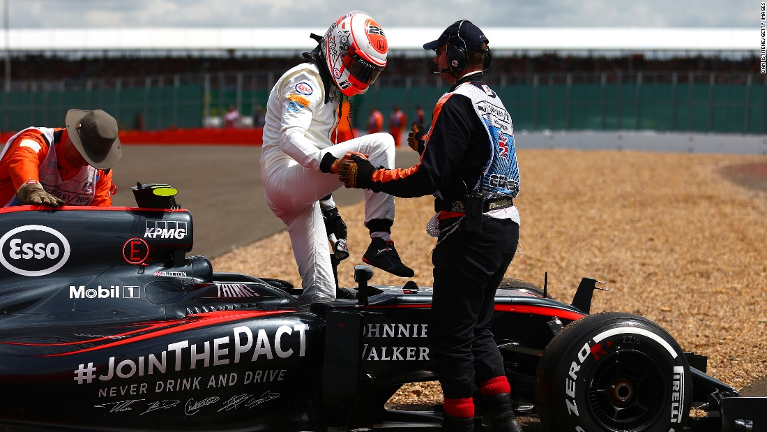 It was another miserable afternoon for McLaren's Jenson Button but his teammate Fernando Alonso did gain a point in 10th spot.