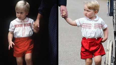 Prince William, left, in 1984, and Prince George, right, on Saturday, July 4, 2015, wearing similar clothing.