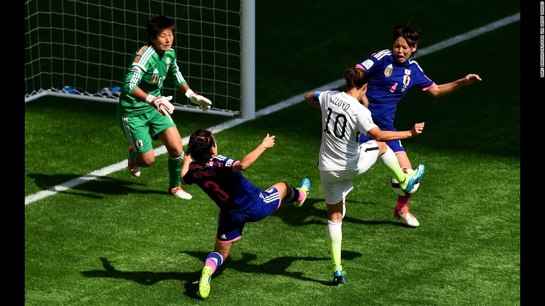Lloyd scores her team's second goal against Japan on July 5.