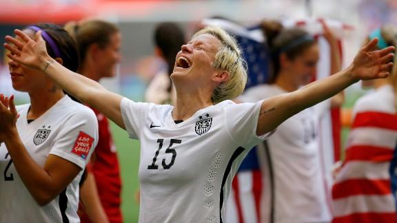 Megan Rapinoe of the United States celebrates the decisive win against Japan.