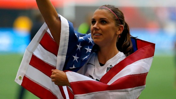 Alex Morgan of the United States celebrates the impressive win.