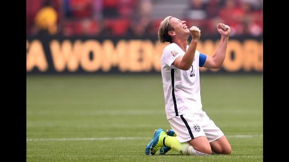 Abby Wambach celebrates after the U.S. victory.
