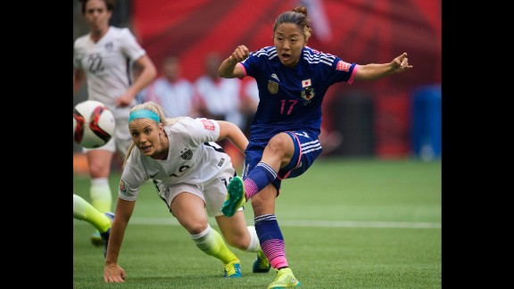 Japan's Yuki Ogimi of Japan scores a goal during the first half.