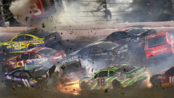 Austin Dillon, driver of the No. 3 Chevrolet, slams into the catch fence during the final lap of the NASCAR Coke Zero 400 at Daytona International Speedway in Daytona Beach, Florida, early on Monday, July 6. One spectator was sent to the hospital with injuries. Dillon walked away from the wreck.