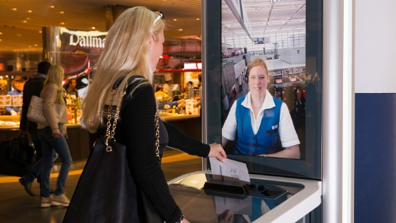 In Munich Airport, InfoGate kiosks allow for face-to-face, video-based conversation with a live customer representative in the traveler's language of choice. In addition, documents can be scanned, printed and exchanged between the two parties.