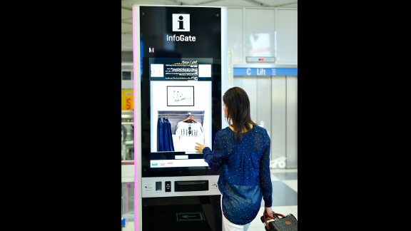 "With the touch of a finger, passengers can tap a ""you are here"" display, and InfoGate's interactive signs give directions."
