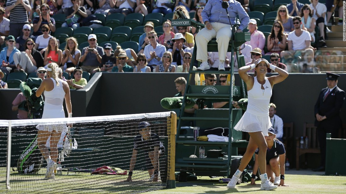 Caroline Wozniacki, left, is out, though. Garbine Muguruza, who has a history of pulling off upsets at majors despite her young age, advanced in two sets.