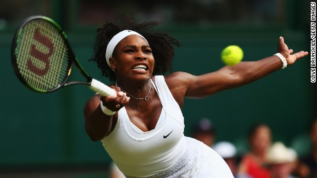 Serena Williams of the United Statesstretches for a forehand in her Ladies Singles Second Round match against Timea Babos of Hungary during day three of the Wimbledon Lawn Tennis Championships at the All England Lawn Tennis and Croquet Club on July 1.